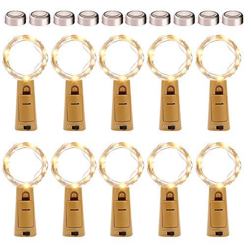 KOTONAMI Lichterkette Flaschenlicht, 10 Stück 2M 20LED Lichterkette für Außen/Innen Deko, Lichterketten Weihnachten Batteriebetrieben Wasserdichte Lichter Flasche Dekoration, Warmweiß