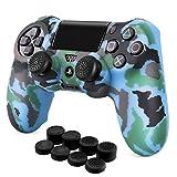 TNP Schutzhülle für PS4 / Slim/Pro Controller, griffig, weiche Silikon-Gel-Gummischale und rutschfeste Daumenstick-Kappen für Sony Playstation 4 Controller Gamepad (Camo Blue)