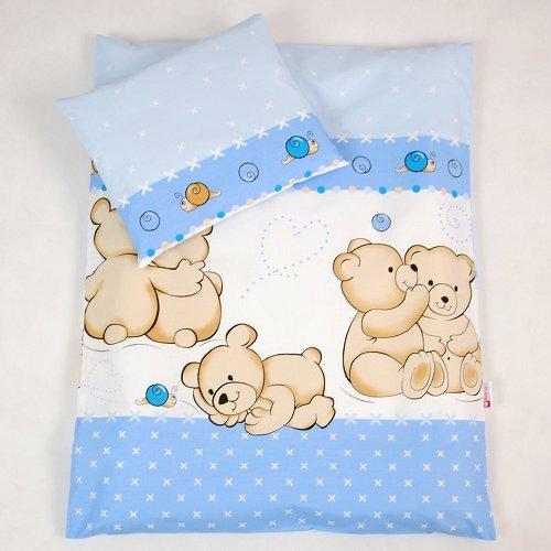 BABYLUX 2 tlg. Set Bezug für Kinderwagen Garnitur Bettwäsche Kissen Decke 60 x 78 cm TEDDYBÄREN (63. Teddybären Blau)