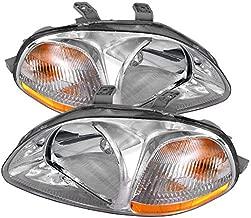 Carpartsinnovate Fit Honda 96-98 Civic EK EJ JDM Clear Head Lights Amber Turn Signal Lamps Pair