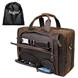Augus Leather Briefcase Business Travel Duffel Bags for...