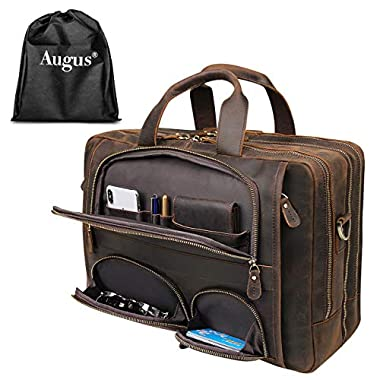 Augus Business Travel Briefcase Genuine Leather...