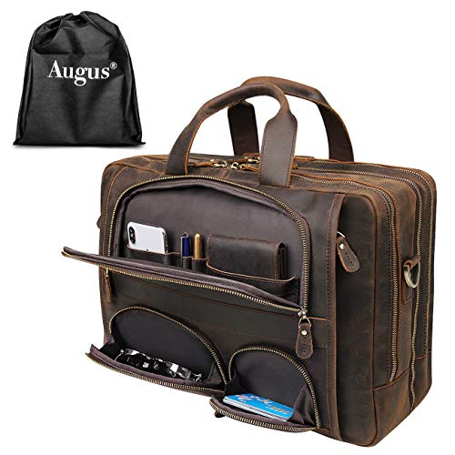 Augus Leather Briefcase Business Travel Duffel Bags for Men Laptop Bag fits 15.6 inches Laptop YKK Metal Zipper