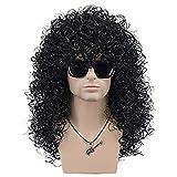 Peluca de rockero dura 70s 80s negra rizada larga para hombre peluca cosplay de disfraces de halloween (negro)