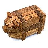 SiamMandalay Little Pig: Puzzle de madera hecho a mano y orgánico 3D Brain Teaser para adultos de con caja de regalo SM gratis (en la foto)