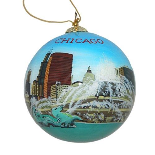 Handbemaltes Glas Weihnachtsdekoration – Buckingham Brunnen Chicago Illinois