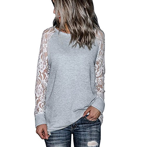 Orangeskycn Fashion Womens Casual Lace Long Sleeve Pullover Crop O-Neck T-Shirt Blouse Tops (Gray, L)