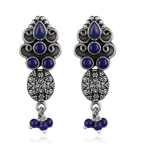 Gemshiner Pendientes colgantes de lapislázuli de inspiración vintage en plata de ley 925 para mujeres y niñas