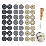 21 Sets Seat Belt Stop Button with 1 Pcs Wooden Handle awl Prevent Belt Buckle from Sliding Down The Belt   Removable Without Welding Universal Fit Stopper Kit (Black + Beige + Grey)