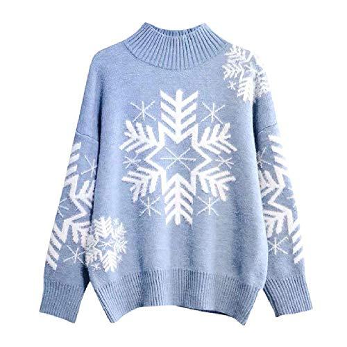 LILIZHAN Winter Sneeuwvlok Print Kerst Trui Vrouwen Coltrui Trui Coltrui Vrouwen Herfst Lange Mouw Elastische Pullover