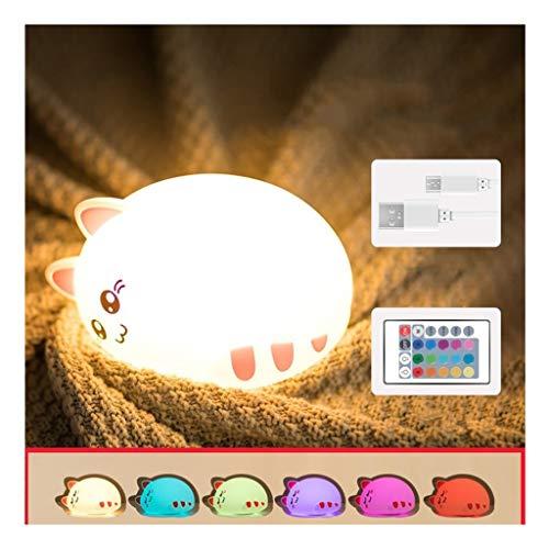 WYZ - Luz de noche de gel de sílice para gatos, colorida luz LED con atenuación remota, para dormitorio de niños, noche de lactancia materna, A, 165×118×100mm