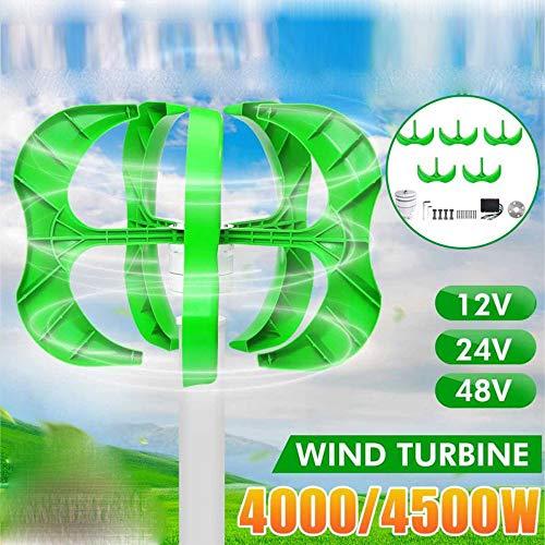 GONGJU Windgenerator 24.12 / 48V 5 Blades Generator Laterne Windkraftanlagen Vertikale Achse + Steuerung,4000w,48V