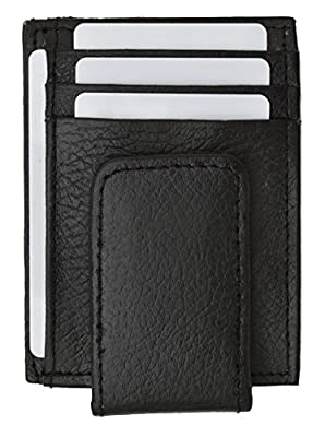 Genuine Leather Money Clip front pocket wallet with magnet clip and card ID Case (Black)