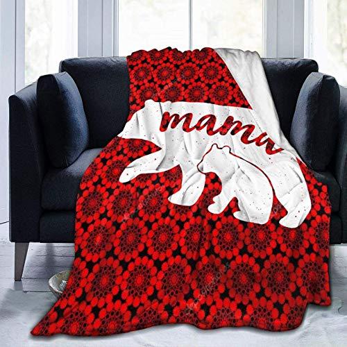 Mama and Baby Bear Manta Artística, ligera, cómoda y suave manta de viaje de microfibra