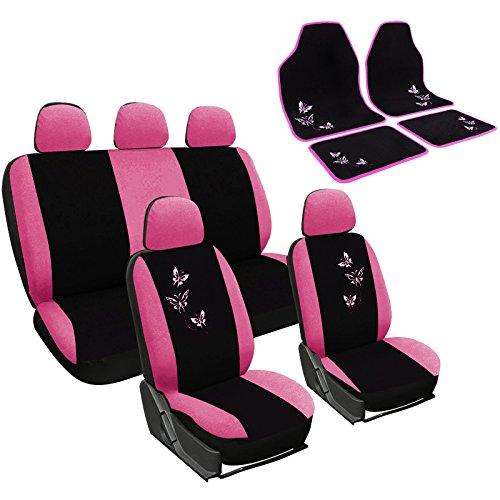 WOLTU 7247+AM7141 Auto Sitzbezug + Fußmatten, Komplettset, PET, Schonbezug für PKW mit Fussmatten Set, Matten, universal passend, Stickerei Butterfly, Super Design, Schwarz/Rosa