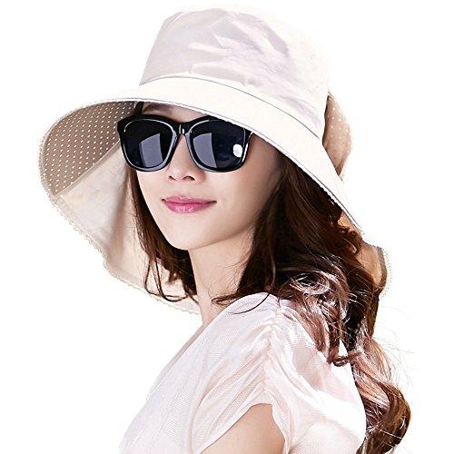Comhats Algodon Sombreros Playa Mujer Verano Sombrero ala Ancha Sol Gorras y Sombreros protección UV UPF 50 Beige