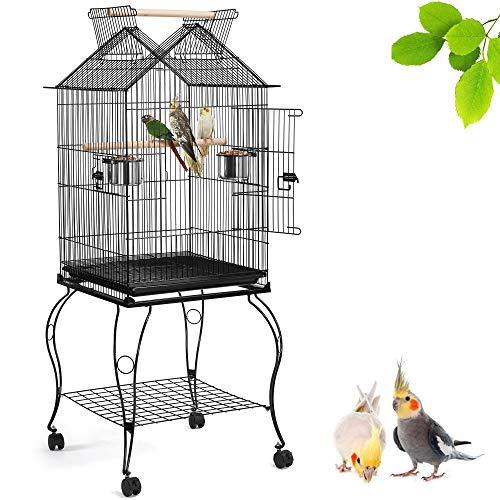 Yaheetech Cage pour Les Oiseaux 59,5 x 59,5 x 145 cm Cage sur roulettes Canaries Perruches Canaris Calopsitte Inséparable Petit Mandarin