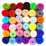 SOLEDI lana de fieltro, lanas de colores,Set de lana de fieltro agujado, ovillo de hilo de lana para hilar, hilado a mano,fieltrohúmedo(36 colores)