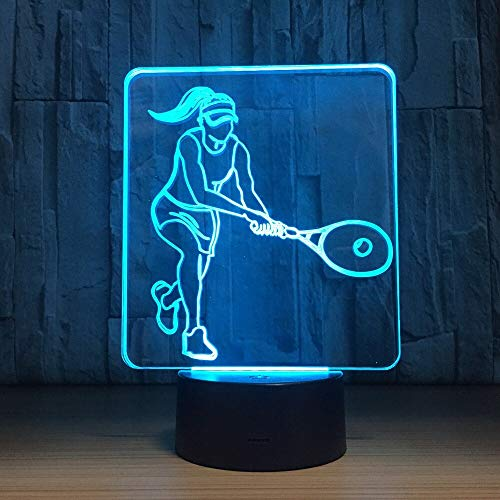 WisdomMi Night Stand Lamp Children's Lighting 7 Color Women Tennist Mordel Led 3D Night Light USB Table Lamp Children's Room Bedside Lamp Music Fan Best Gift Remote Control 16 Colors