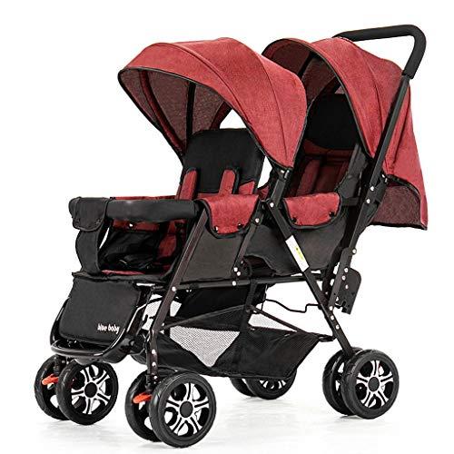 Jixi Cochecitos de bebé Gemelos Ligero Plegable Delantero y Trasero Reclinable Carro Doble Mosquitera for automóvil Infantil Cinturón de Seguridad de Cinco Puntos (Color : H)