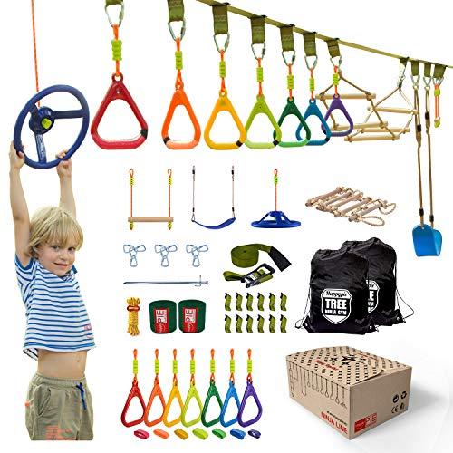 HAPPYPIE Ninja Warrior Obstacle Course Training Equipment for Kids, 46 FT Slackline with 11 Obstacles, Gymnastics Set Including Monkey Bar Zipline Swing Ninja line for Backyard Boys Girls Age 6+