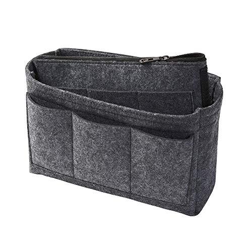 Taschenorganizer aus Filz, dunkelgrau, M (Farbe & Größe wählbar) inkl. separater Tasche mit Reißverschluss. Handtaschenordner, Organizer für Taschen, Elektronik, Foto, Kosmetik