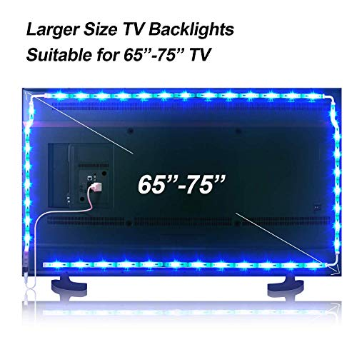 LED TV Hintergrundbeleuchtung, 4.36M LED Strip LED Streifen USB 5050 RGB 106 LEDs 16 Farben 4 Modus für 65