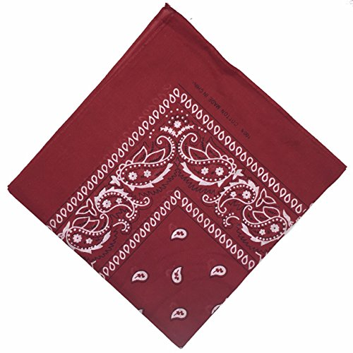 Boolavard 100% Baumwolle, Paisley Bandana Bandana Headwear/Haar-Band-Schal-Ansatz-Handgelenk-Verpackungs-Band-Kopf-Bindung (Schwarz, Rot, Blau, Weiß, etc.) 60+ Stile (31# Burgund)