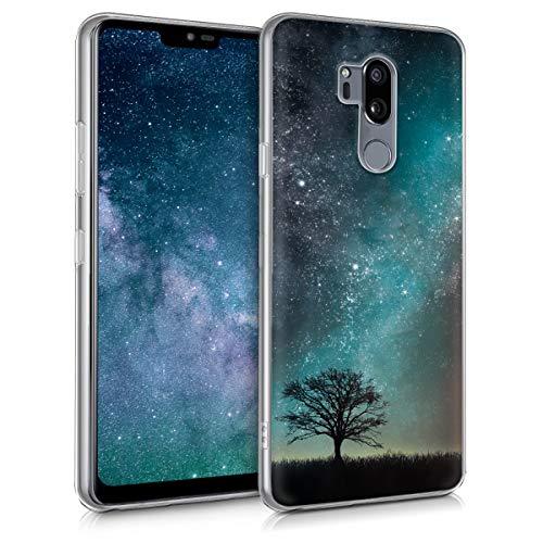 kwmobile Funda Compatible con LG G7 ThinQ/Fit/One - Carcasa de TPU y árbol y Estrellas en Azul/Gris/Negro