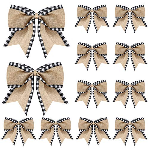 Syhood 12 Pieces Christmas Burlap Plaid Bow Christmas Buffalo Plaid Bow Christmas Decoration Bow for Christmas Tree Crafts Home Decoration (White and Black)