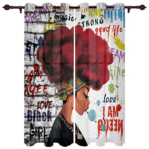 """Wide Curtains Panels for Bedroom, African American Woman Red Hair with Graffiti Wall Window Treatment Thermal Insulated Grommet Drapes for Living Room Patio Sliding Door (2 Panels, 52""""x84"""")"""