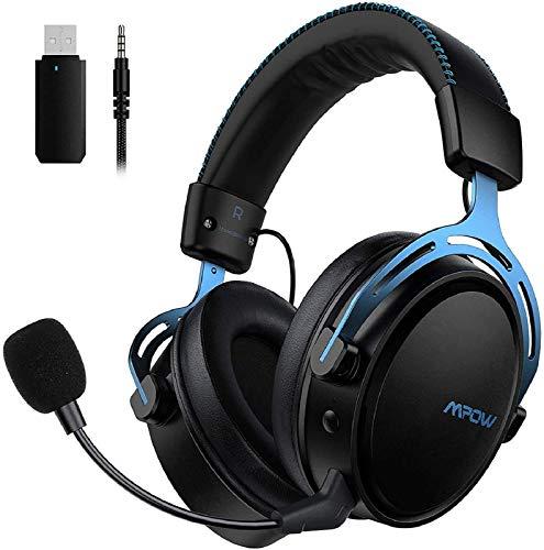 Mpow Air 2.4G Auriculares Gaming para PS4, PC, Xbox One, Estéreo Cascos Inalámbricos para Juegos , Micrófono con Cancelación de Ruido,Transmisor USB Incluido - Azul