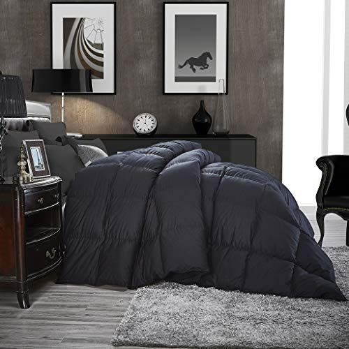 Luxurious All-Season Goose Down Comforter King Size Duvet Insert, Classic Black, Premium Baffle Box, 1200 Thread Count 100% Egyptian Cotton Cover, 750+ Fill Power, 65 oz Fill Weight (King, Black)