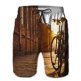 Hombres Verano Secado rápido Pantalones Cortos Playa Bicicleta de piñón Fijo Negra estacionada en la Ciudad Trajes de baño Correr Surf Deportes-M