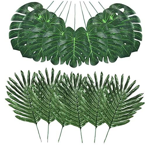 Las hojas de la selva de la simulación artificial de las hojas de palma Tropical Plant artificiales se deriva de Hawai plantas artificiales hojas verdes 48PCS