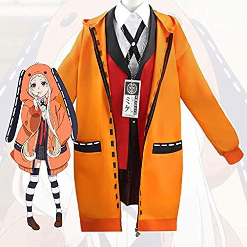 YBINGA Yomotsuki Runa Cosplay Disfraz Kakegurui con capucha para la escuela, linda niña, juego completo con peluca pequeña, disfraz de fiesta (tamaño mediano)