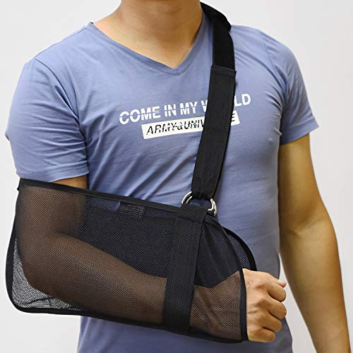 Breathable Mesh Arm Sling, Arm Sling Shoulder Immobilizer Rotator Cuff Wrist Elbow Forearm Support Brace, Arm Sling Elbow Support, for Broken&Fractured Arm, Left and Right Arm (Black)