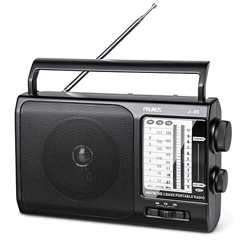 PRUNUS J-05 Portable AM FM Weather Radio with Best Reception, Transistor Weather Radio 3D Cell Battery Operated & AC Powered