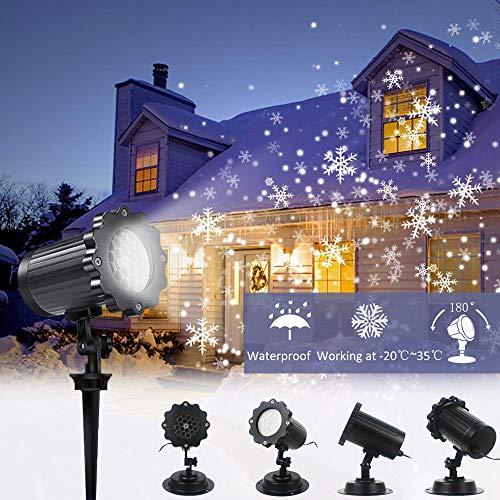 Proiettore Luci LED Natale, Neve FloodLight, Luci Natale Esterno Impermeabile, Faretto rotante a forma di nevicata per Natale, San Valentino, Paesaggio da matrimonio e Decorazioni da giardino