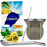 Juego de té mate: Yerba Mate Taragui Maracuya Tropical 0,5 kg | Vaso mate de cristal con revestimiento de piel auténtica (marrón claro) – CalebBass | Bombilla | Cepillo de limpieza