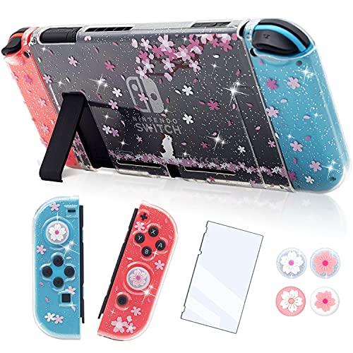 BRHE Dockable Clear Glitter Hülle Kompatibel mit Nintendo Switch Zubehör Cute Cat Bling Grip Skin Schutzhülle Crystal Shell Cover mit Glasschutzfolie