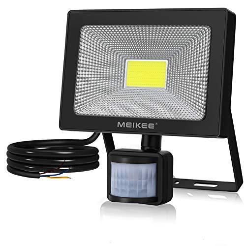 MEIKEE Foco Led Exterior con sensor de movimiento, 50W Proyector LED Exterior 4800lm Super Brillante 6000K Blanco Frío IP66 Impermeable Floodlight LED Iluminación para Jardín, Garaje, Camino