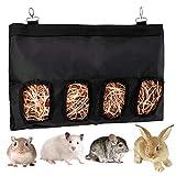 LUTER 28x23x2cm Bolsa de alimentación de heno de Conejillo de Indias Bolsa de heno de Conejo Saco alimentador Colgante, Mascotas pequeñas Que comen heno (Negro / Grande)