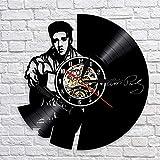 xcvbxcvb Disco de Vinilo Reloj de Pared diseño Moderno Tema Musical Colgante Rock King Elvis Reloj Colgante de Pared decoración del hogar Mudo