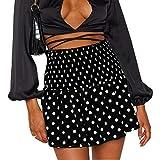 RONGJIE Minifalda de Moda Casual Plisada Linda de Cintura Media para Mujer (Negro, Medium)