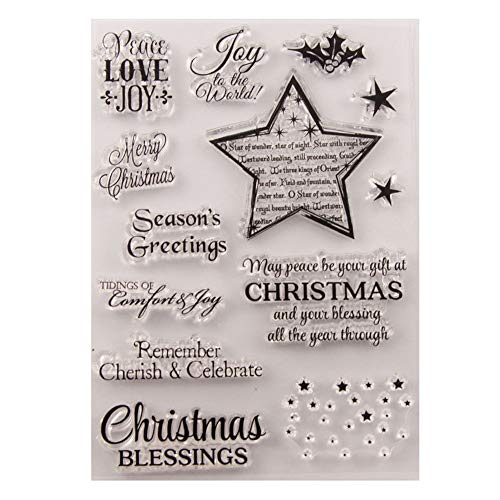 Merry Christmas Season's Greeting Christmas Verses Phrase Sparkle Stars Clear Stamps for Christmas Cards Making Decoration and Scrapbooking Rubber Stamps for Craft