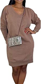 Womens V Neck Long Sleeve Pullover with Pocket Warm Sweatshirt Mid Length Dress