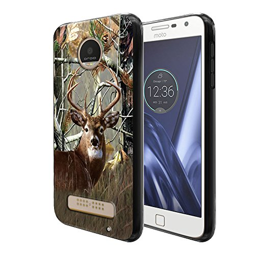 FINCIBO Case Compatible with Motorola Moto Z Play 2016 Droid XT1635, Flexible TPU Black Soft Gel Skin Protector Cover Case for Moto Z Play (NOT FIT Z Force) - Deer Hunter