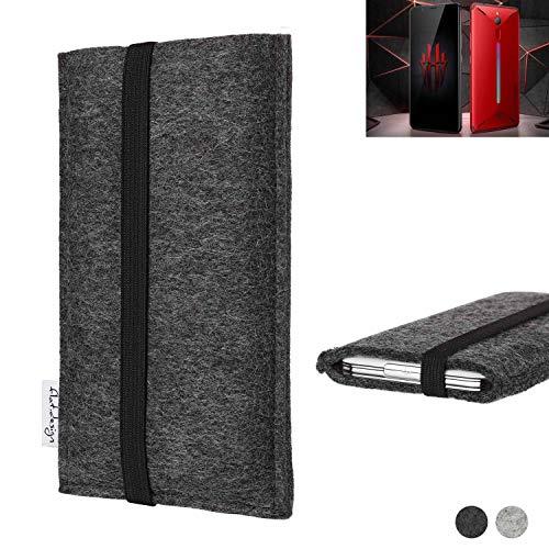 flat.design vegane Handy Tasche Coimbra kompatibel mit Nubia Red Magic Mars - Schutz Hülle Tasche Filz vegan fair schwarz