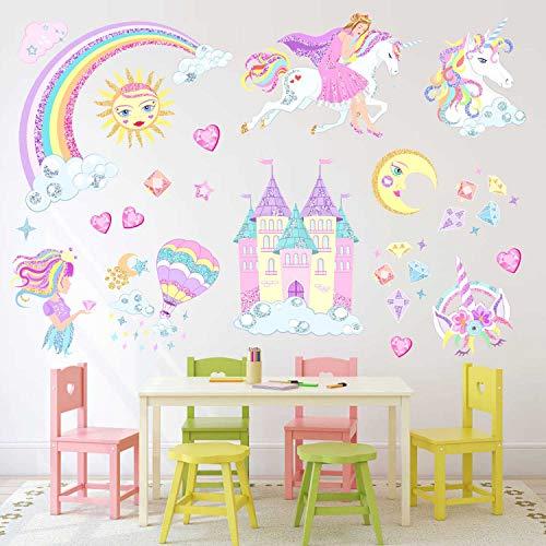 CatWallArt Unicorn Wall Stickers Princess Wall Decals Reflective Vinyl Wall Art Fairy Story Baby Girls Bedroom Playroom